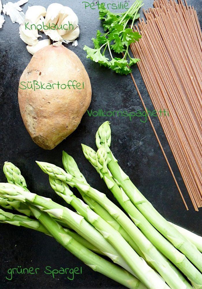 grüner Spargel und Süßkartoffel