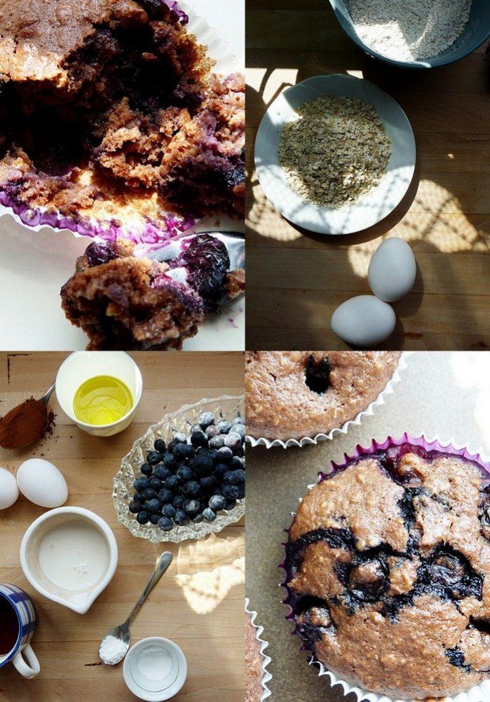 Muffins mit Blaubeeren und Kakao