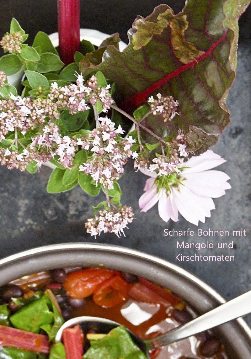 Scharfe Bohnen mit Mangold und Tomaten