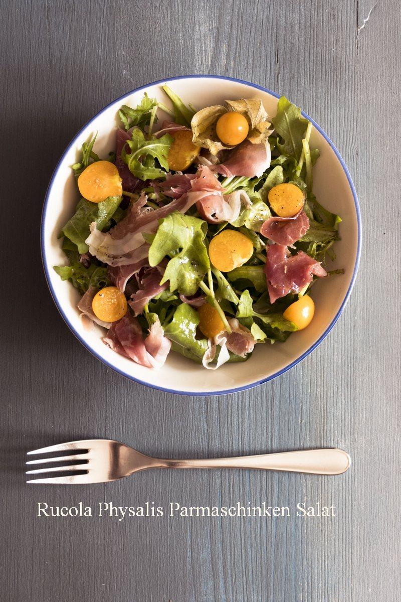 Salat mit Parmaschinken und Physalis